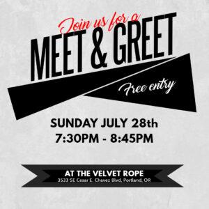 FREE Pre-Party Meet & Greet @ The Velvet Rope