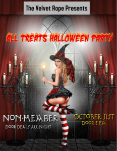 All Treats Non-Member Halloween Bash With Karaoke @ The Velvet Rope